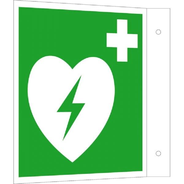 Erste-Hilfe-Schild: Defibillator (AED)   Aluminium   20x20cm