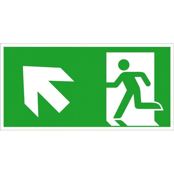 Rettungszeichen: Rettungsweg links aufwärts   Aufkleber   40x20cm