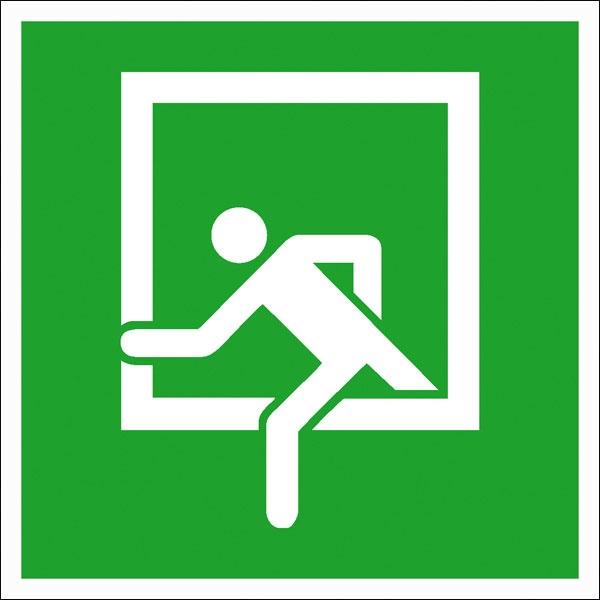 Rettungszeichen: Notausstieg   Kunststoff   20x20cm