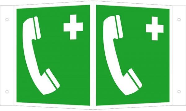 Erste-Hilfe-Schild: Notruftelefon | Aluminium | 15x15cm