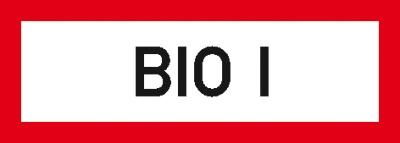 Hinweisschild für die Feuerwehr: BIO 1 | Aluminium geprägt | 21x7,4cm