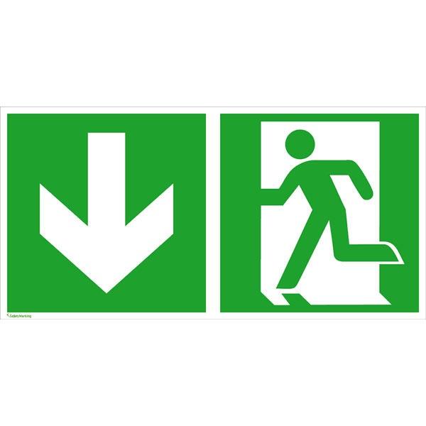 Rettungszeichen: Notausgang links abwärts | Aluminium | 30x15cm