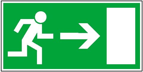 Rettungszeichen: Rettungsweg rechts   Aufkleber   30x15cm
