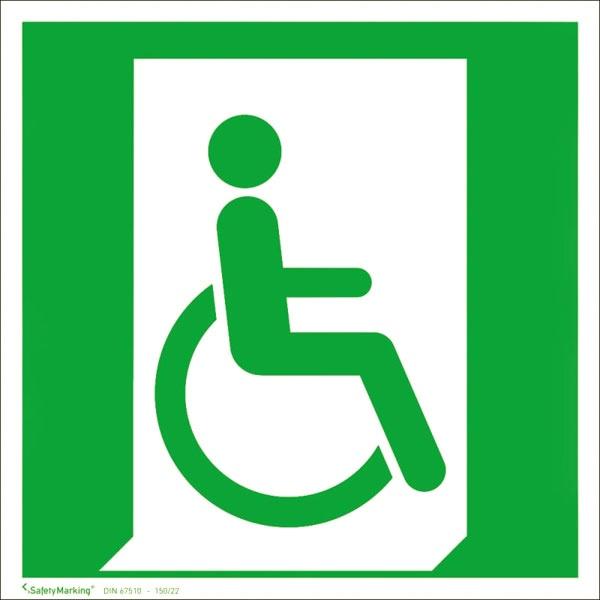 Rettungszeichen: Notausgang für Gehbeeinträchtigte rechts | Aluminium | 20x20cm