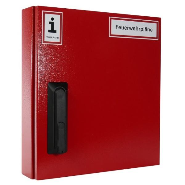 A4-Wandschrank für Feuerwehrpläne | Stahlblech rot | Schwenkhebelgriff für Profilhalbzylinder