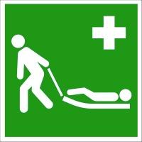 Erste-Hilfe-Schild: Evakuierungsmatratze | Aluminium | 15x15cm