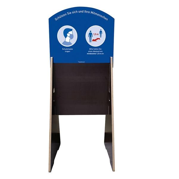 Wetterfester XL-Infoständer zu Abstandsregeln und Mundschutzpflicht