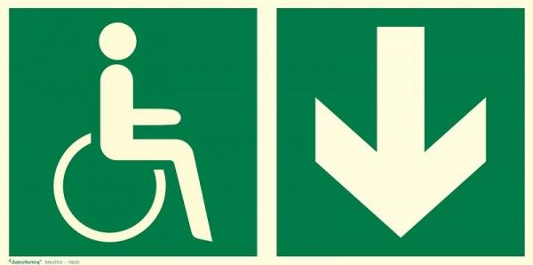 Rettungszeichen: Notausgang für gehbeeinträchtige Personen rechts abwärts | Aluminium | 30x15cm