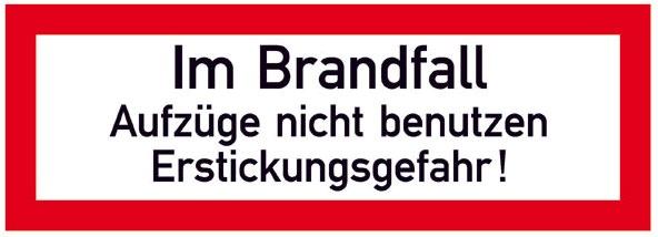 Hinweisschild für die Feuerwehr: Aufzug/Erstickungsgefahr | Aufkleber | 21x7,4cm