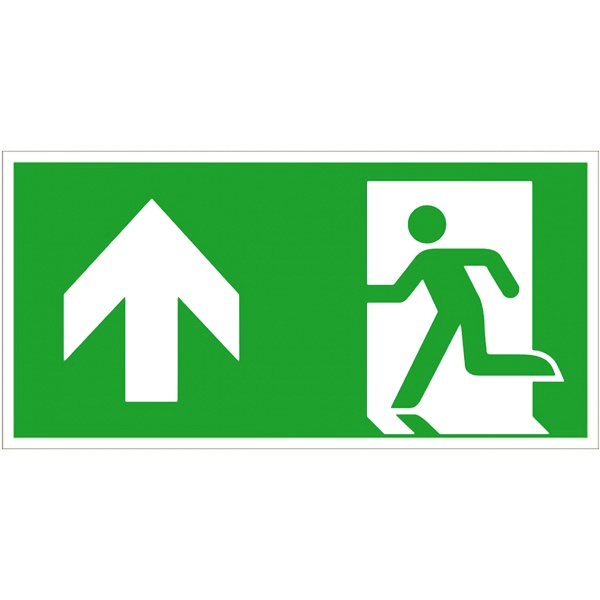 Rettungszeichen: Notausgang links geradeaus / aufwärts | Aluminium | 30x15cm
