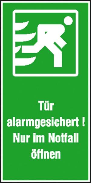 Rettungszeichen: Tür alarmgesichert! Nur im Notfall öffnen | Aufkleber | 7,4x14,8cm