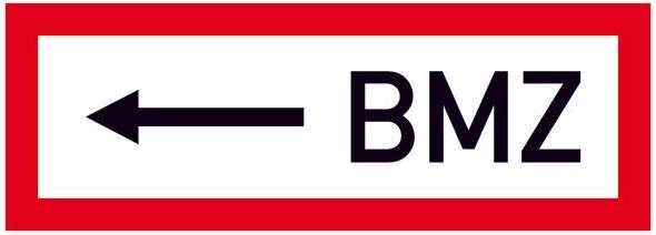 Hinweisschild für die Feuerwehr: BMZ (Brandmelderzentrale) links | Aufkleber | 29,7x10,5cm