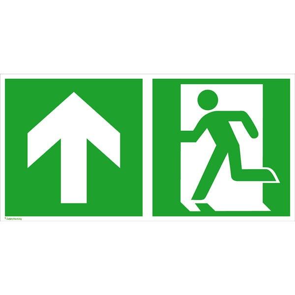 Rettungszeichen: Notausgang links geradeaus / aufwärts | Aluminium | 40x20cm