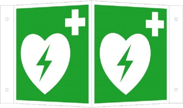 Erste-Hilfe-Schild: Defibillator (AED) | Kunststoff | 15x15cm
