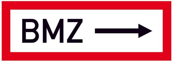 Hinweisschild für die Feuerwehr: BMZ (Brandmelderzentrale) rechts | Aluminium geprägt | 29,7x10,5cm