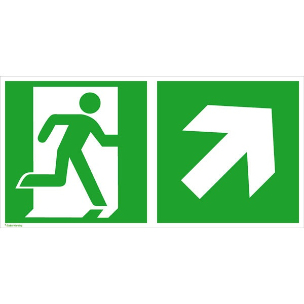 Rettungszeichen: Rettungsweg rechts aufwärts | Aluminium | 40x20cm