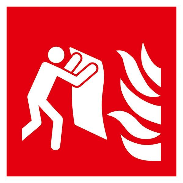 Brandschutzzeichen: Feuerlöschdecke | Aufkleber | 15x15cm
