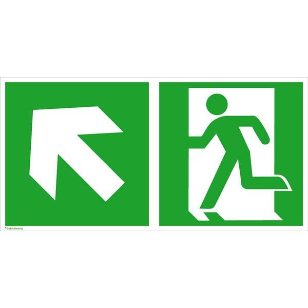 Rettungszeichen: Rettungsweg links aufwärts | Aluminium | 30x15cm