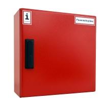 A3-Wandschrank für Feuerwehrpläne | Stahlblech RAL 3000 | Schwenkhebelgriff PHZ