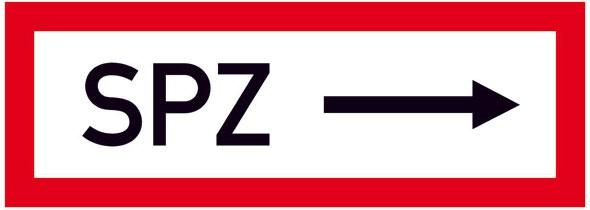 Hinweisschild für die Feuerwehr: SPZ ---> (Sprinklerzentrale rechts) | Aufkleber | 29,7x10,5cm