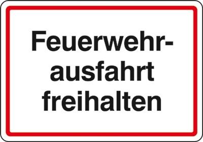 Hinweisschild für die Feuerwehr: Feuerwehrausfahrt | Aluminium geprägt | 50x35cm