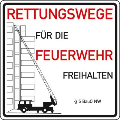 Hinweisschild für die Feuerwehr: Rettungswege, §5 BauO NW | Aluminium | 50x50cm