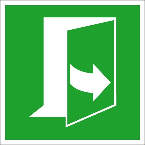 Rettungszeichen: Tür links ziehen | Aufkleber | 10x10cm