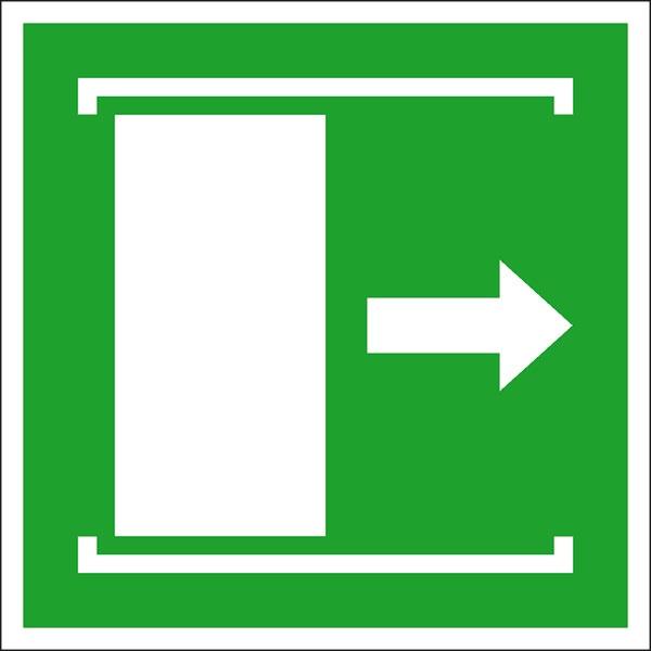 Rettungszeichen: Schiebetür nach rechts | Aluminium | 15x15cm
