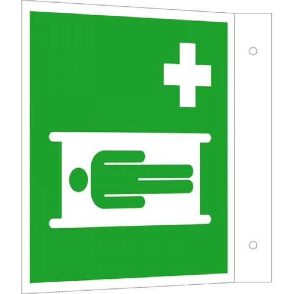 Erste-Hilfe-Schild: Krankentrage | Aluminium | 20x20cm