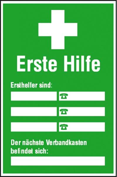 Erste-Hilfe-Aushang: Ersthelfer-Verzeichnis   Aluminium