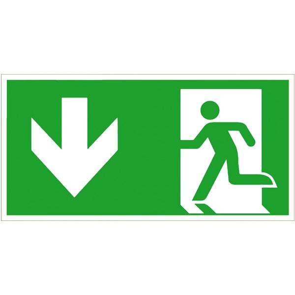 Rettungszeichen: Notausgang links abwärts | Aufkleber | 30x15cm