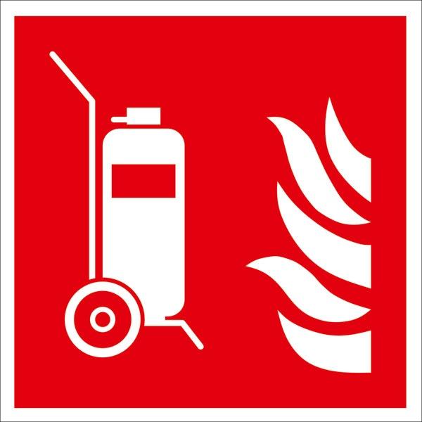 Brandschutzzeichen: Fahrbarer Feuerlöscher | Aufkleber | 15x15cm