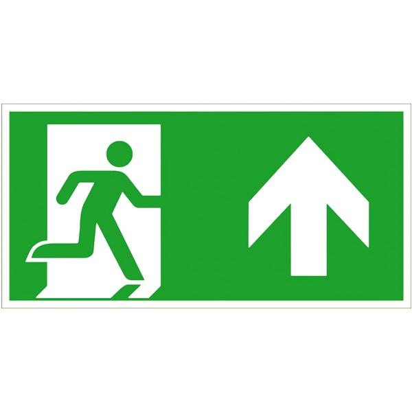 Rettungszeichen: Notausgang rechts geradeaus / aufwärts | Aufkleber | 30x15cm
