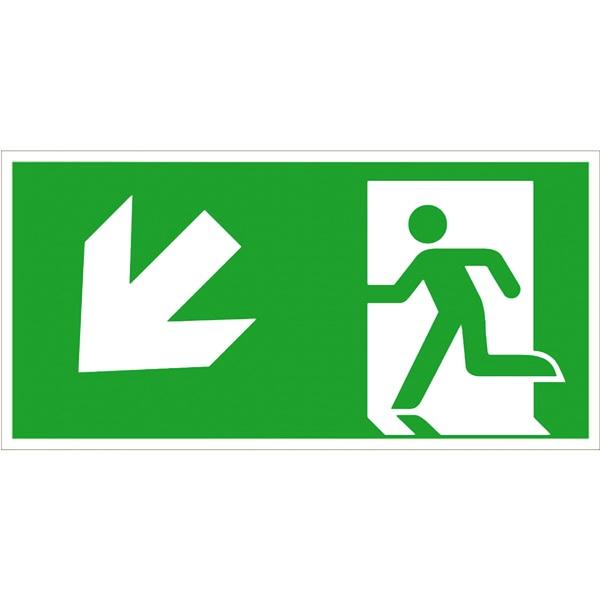Rettungszeichen: Rettungsweg links abwärts | Aluminium | 30x15cm