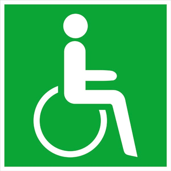 Rettungszeichen: Notausgang für Rollstuhlfahrer rechts | Aluminium | 20x20cm