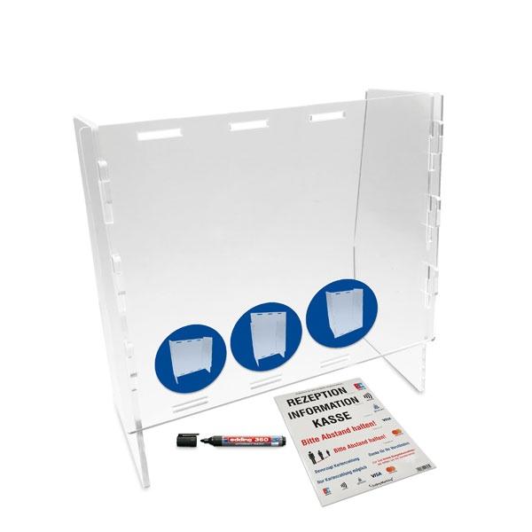 Mobiler, variabler Acrylglas-Hygieneschutz mit optionaler Durchreiche