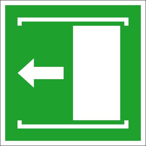 Rettungszeichen: Schiebetür nach links | Aufkleber | 20x20cm