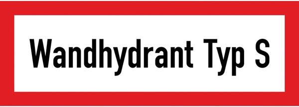 Hinweisschild für die Feuerwehr: Wandhydrant Typ S | Aufkleber | 21x7,4cm