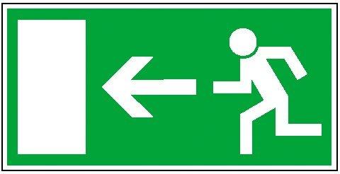 Rettungszeichen: Notausgang links | Aufkleber | 30x15cm