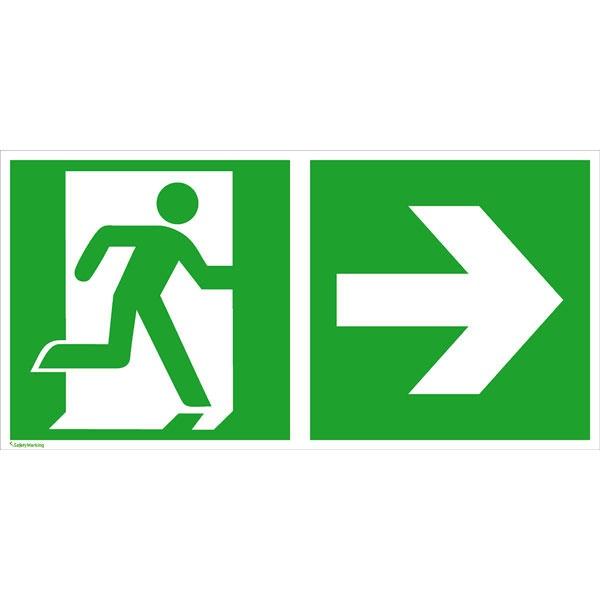 Rettungszeichen: Rettungsweg rechts | Aluminium | 30x15cm