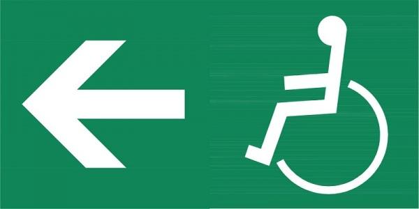 Rettungszeichen: Rettungsaufzug, Ausgang links | Aufkleber | 8x4cm