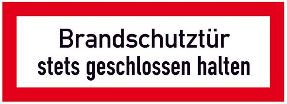 Hinweisschild für die Feuerwehr: Brandschutztür | Aufkleber | 29,7x10,5cm