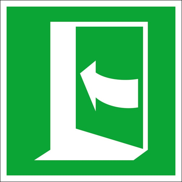 Rettungszeichen: Tür links drücken | Aufkleber | 15x15cm