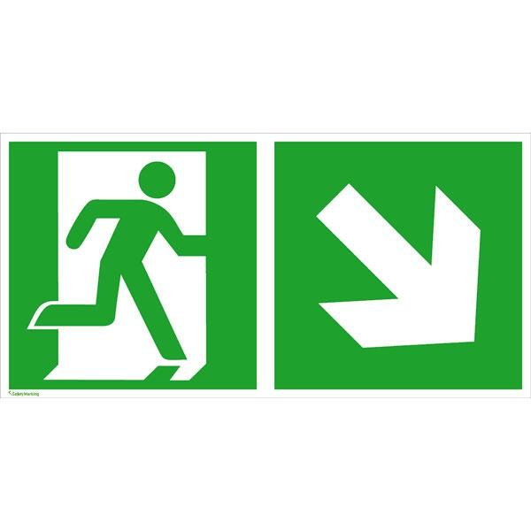 Rettungszeichen: Rettungsweg rechts abwärts   Aluminium   30x15cm