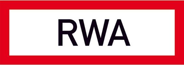 Hinweisschild für die Feuerwehr: RWA (Rauch- & Wärmeabzug)   Aluminium geprägt   29,7x10,5cm