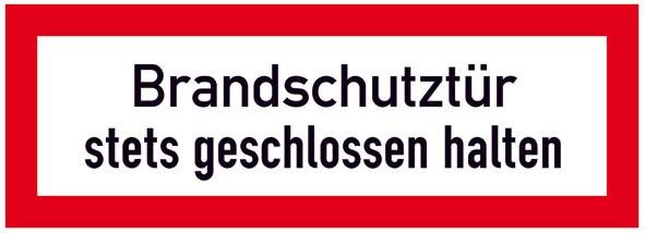 Hinweisschild für die Feuerwehr: Brandschutztür   Aufkleber   29,7x10,5cm