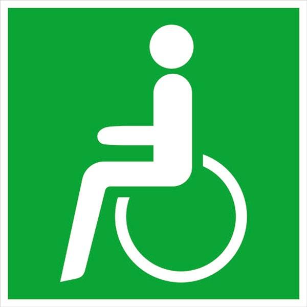 Rettungszeichen: Notausgang für Rollstuhlfahrer links | Aluminium | 20x20cm
