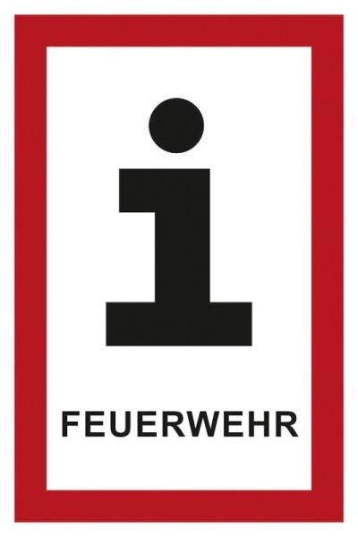 Hinweisschild für die Feuerwehr: Informationen für die Feuerwehr | Aufkleber | 5x7,5cm