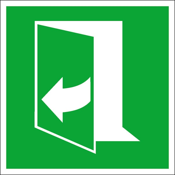 Rettungszeichen: Tür rechts ziehen | Aufkleber | 10x10cm
