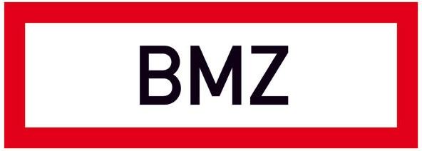 Hinweisschild für die Feuerwehr: BMZ (Brandmelderzentrale) | Aufkleber | 29,7x10,5cm